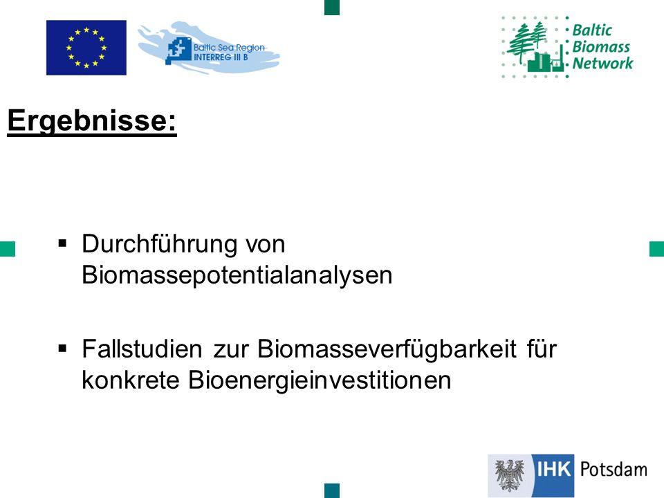 Durchführung von Biomassepotentialanalysen Fallstudien zur Biomasseverfügbarkeit für konkrete Bioenergieinvestitionen Ergebnisse: