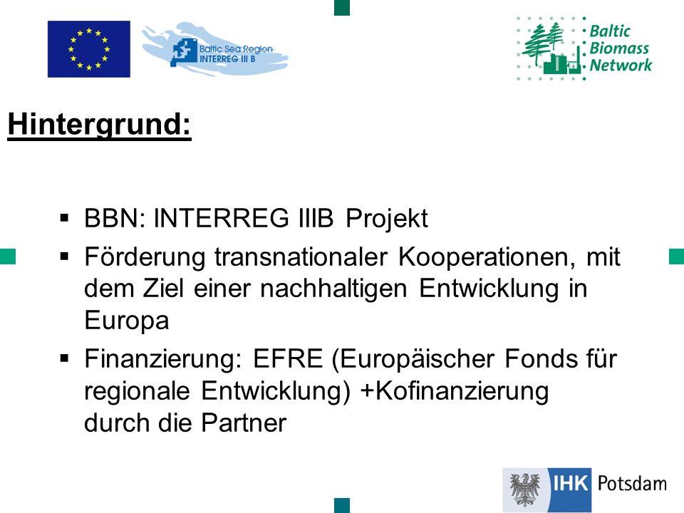 BBN: INTERREG IIIB Projekt Förderung transnationaler Kooperationen, mit dem Ziel einer nachhaltigen Entwicklung in Europa Finanzierung: EFRE (Europäis