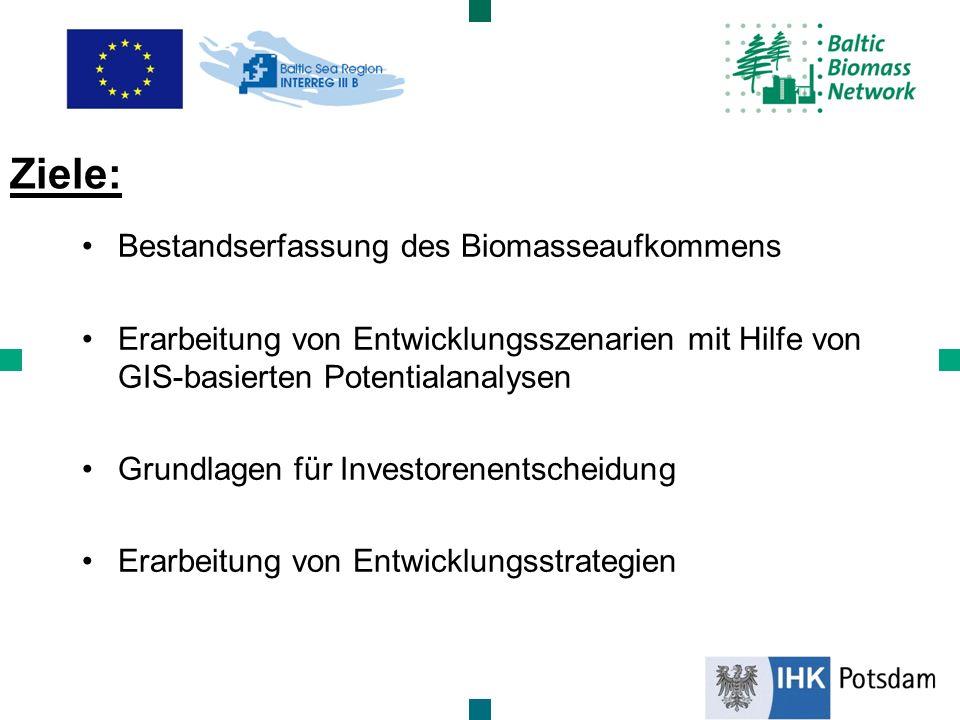 Bestandserfassung des Biomasseaufkommens Erarbeitung von Entwicklungsszenarien mit Hilfe von GIS-basierten Potentialanalysen Grundlagen für Investoren