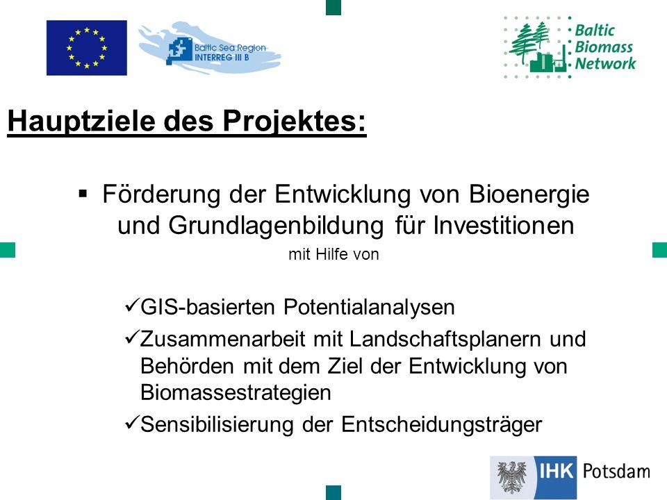Förderung der Entwicklung von Bioenergie und Grundlagenbildung für Investitionen mit Hilfe von GIS-basierten Potentialanalysen Zusammenarbeit mit Land