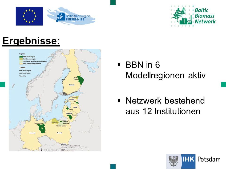 BBN in 6 Modellregionen aktiv Netzwerk bestehend aus 12 Institutionen Ergebnisse: