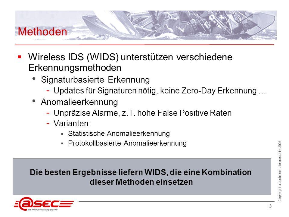 Copyright atsec information security, 2006 3 Methoden Die besten Ergebnisse liefern WIDS, die eine Kombination dieser Methoden einsetzen Wireless IDS (WIDS) unterstützen verschiedene Erkennungsmethoden Signaturbasierte Erkennung - Updates für Signaturen nötig, keine Zero-Day Erkennung … Anomalieerkennung - Unpräzise Alarme, z.T.