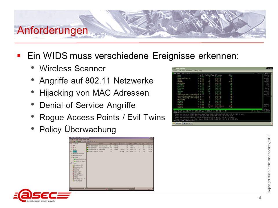 Copyright atsec information security, 2006 5 Architektur Systemaufbau Dezentral/Standalone - Einzelne Einheit, die als Sensor und Auswerteeinheit fungieren Zentral - Zentraler Server zur Auswertung und Konfiguration, verteilte Sensoren Datenauswertung: - Kann auf Sensor (bessere Hardware nötig) oder auf Server (komplette Kopie des Datenstroms nötig) erfolgen Sensornutzung: - Dedizierter Sensor - Integriert in Access Point - Access Point, der bei Bedarf zu dedizierten Sensor mutiert
