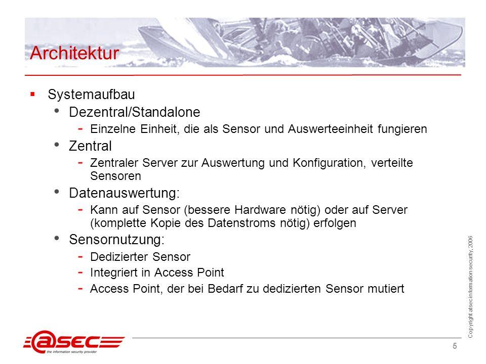 Copyright atsec information security, 2006 5 Architektur Systemaufbau Dezentral/Standalone - Einzelne Einheit, die als Sensor und Auswerteeinheit fung