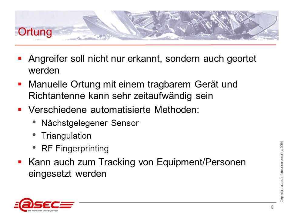 Copyright atsec information security, 2006 8 Ortung Angreifer soll nicht nur erkannt, sondern auch geortet werden Manuelle Ortung mit einem tragbarem