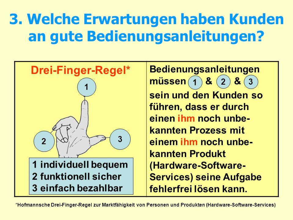 3. Welche Erwartungen haben Kunden an gute Bedienungsanleitungen? Drei-Finger-Regel* Bedienungsanleitungen müssen & & sein und den Kunden so führen, d
