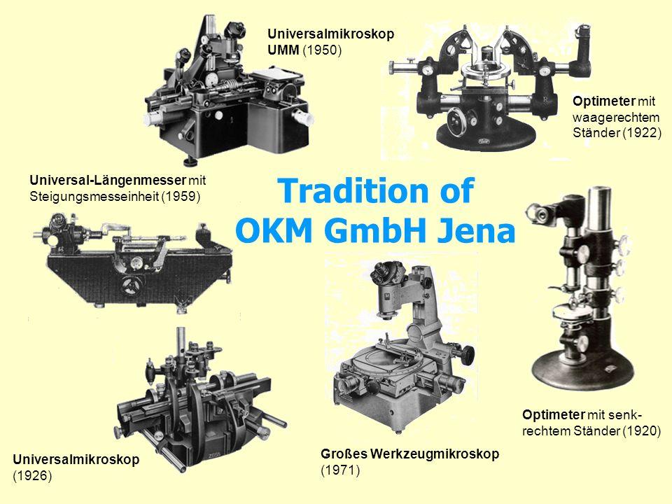 Tradition of OKM GmbH Jena Optimeter mit senk- rechtem Ständer (1920) Optimeter mit waagerechtem Ständer (1922) Universalmikroskop (1926) Universalmik