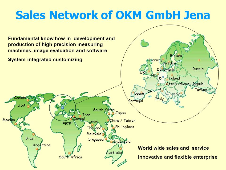 Sales Network of OKM GmbH Jena Russia Finland Sweden Norway Danemark NL UK D CH A Poland Czech./Slowak.Republ. Bulgaria Italy Spain Portugal Turkey Ca