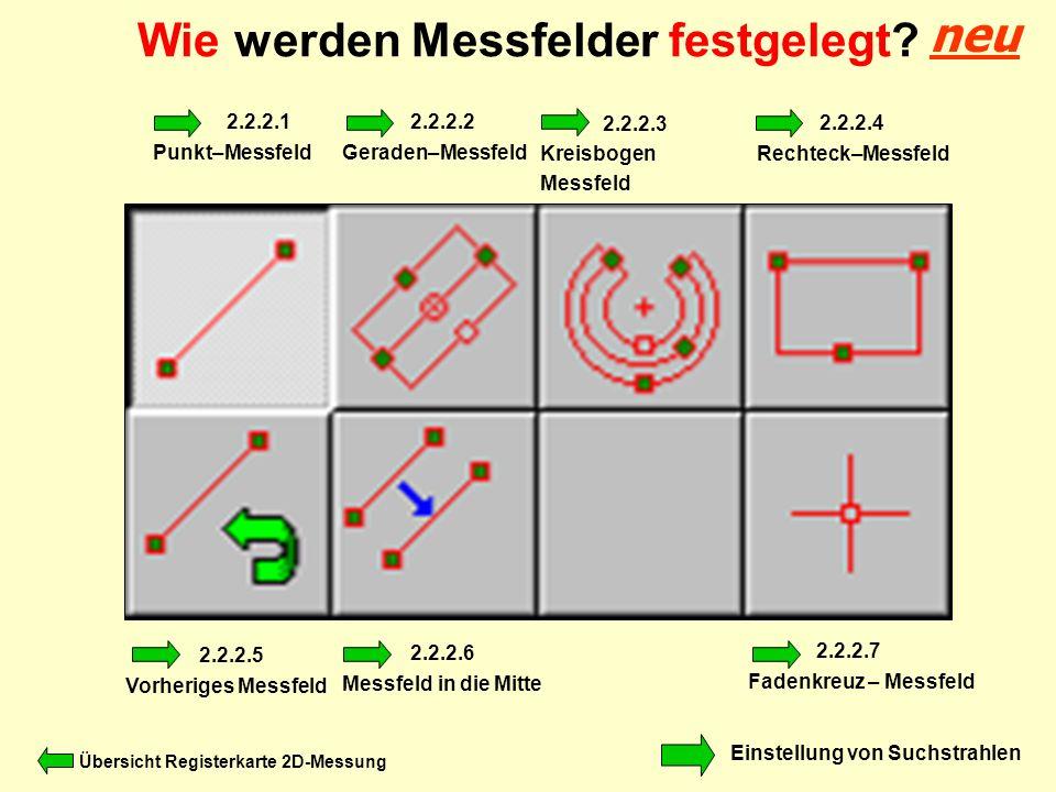 Wie werden Messfelder festgelegt? Einstellung von Suchstrahlen 2.2.2.1 Punkt–Messfeld 2.2.2.2 Geraden–Messfeld 2.2.2.3 Kreisbogen Messfeld 2.2.2.4 Rec