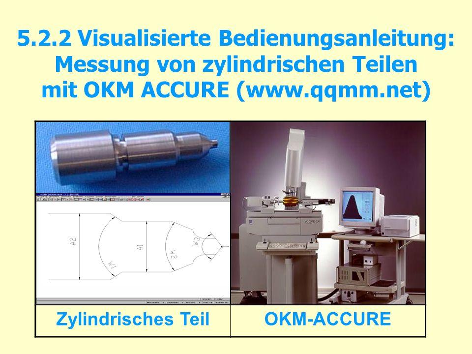 5.2.2 Visualisierte Bedienungsanleitung: Messung von zylindrischen Teilen mit OKM ACCURE (www.qqmm.net) Zylindrisches TeilOKM-ACCURE
