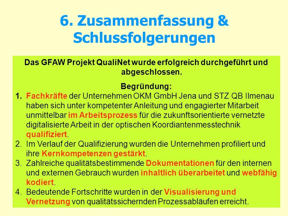6. Zusammenfassung & Schlussfolgerungen Das GFAW Projekt QualiNet wurde erfolgreich durchgeführt und abgeschlossen. Begründung: 1.Fachkräfte der Unter
