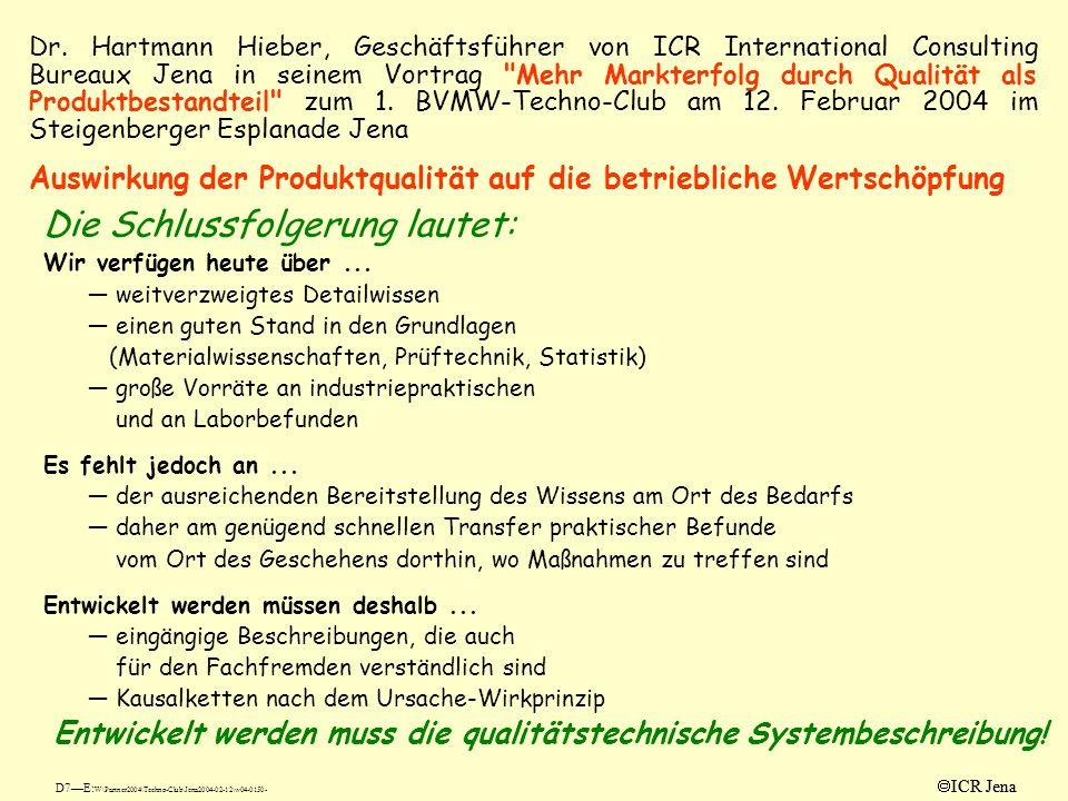 ICR Jena Dr. Hartmann Hieber, Geschäftsführer von ICR International Consulting Bureaux Jena in seinem Vortrag