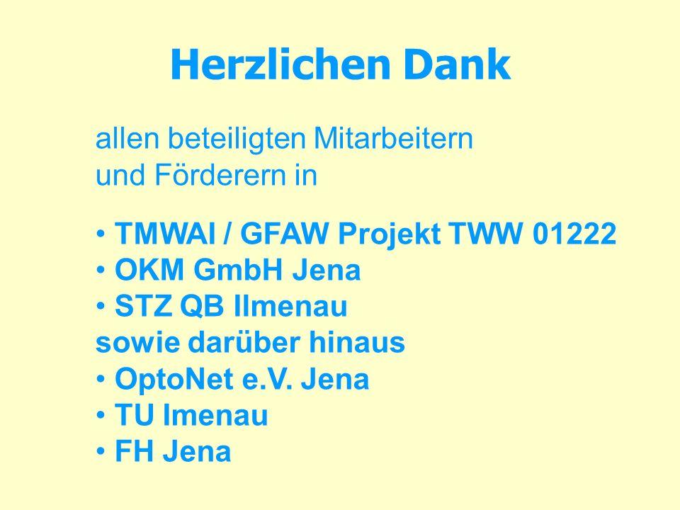 Herzlichen Dank allen beteiligten Mitarbeitern und Förderern in TMWAI / GFAW Projekt TWW 01222 OKM GmbH Jena STZ QB Ilmenau sowie darüber hinaus OptoN