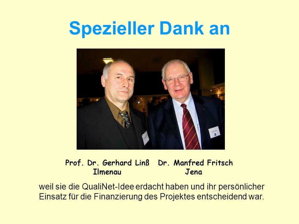 Spezieller Dank an Prof. Dr. Gerhard Linß Ilmenau Dr. Manfred Fritsch Jena weil sie die QualiNet-Idee erdacht haben und ihr persönlicher Einsatz für d