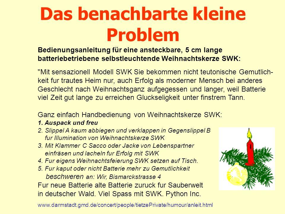 Das benachbarte kleine Problem Bedienungsanleitung für eine ansteckbare, 5 cm lange batteriebetriebene selbstleuchtende Weihnachtskerze SWK: