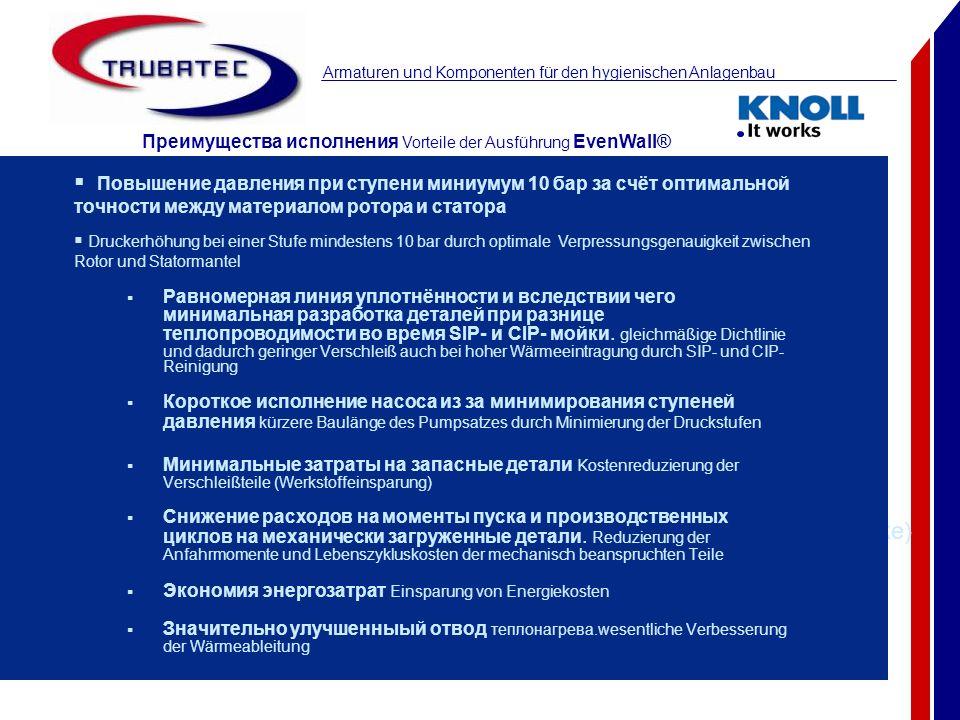 Armaturen und Komponenten für den hygienischen Anlagenbau Stator in EvenWall® (gleichmäßige Elastomerwandstärke) konventioneller Stator (zylindrische