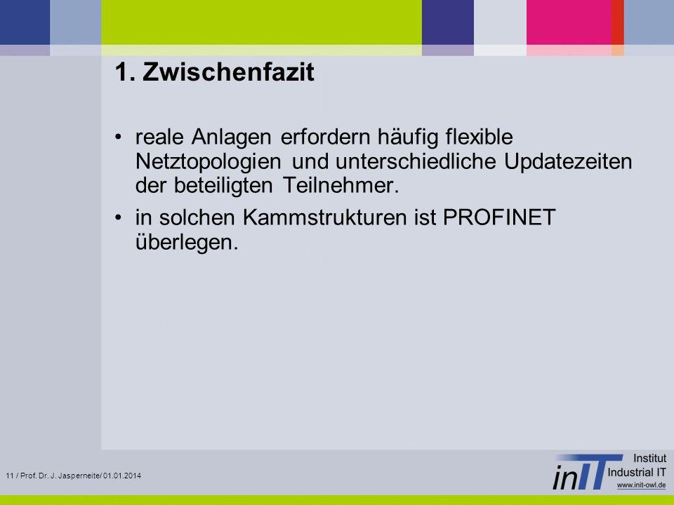 11 / Prof. Dr. J. Jasperneite/ 01.01.2014 1. Zwischenfazit reale Anlagen erfordern häufig flexible Netztopologien und unterschiedliche Updatezeiten de
