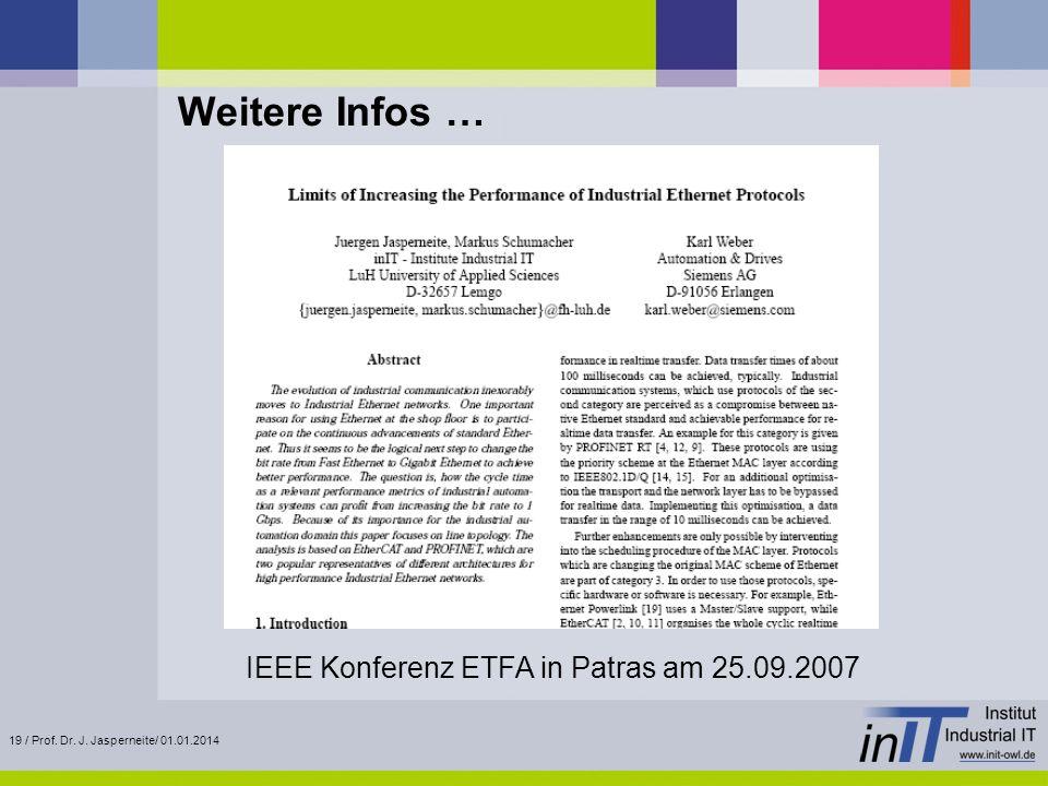 19 / Prof. Dr. J. Jasperneite/ 01.01.2014 Weitere Infos … IEEE Konferenz ETFA in Patras am 25.09.2007