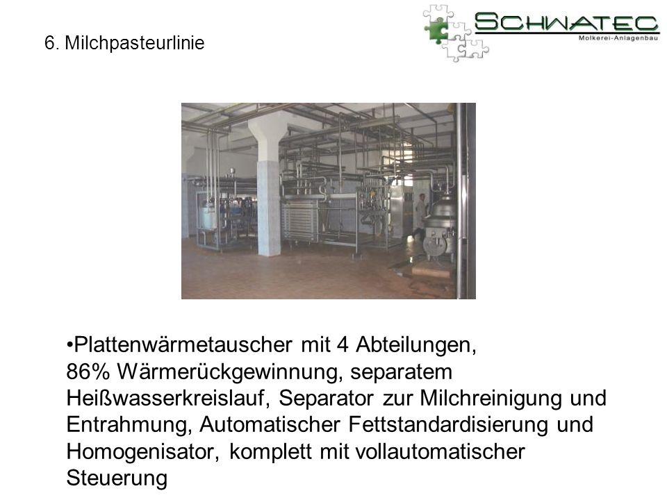 6. Milchpasteurlinie Plattenwärmetauscher mit 4 Abteilungen, 86% Wärmerückgewinnung, separatem Heißwasserkreislauf, Separator zur Milchreinigung und E