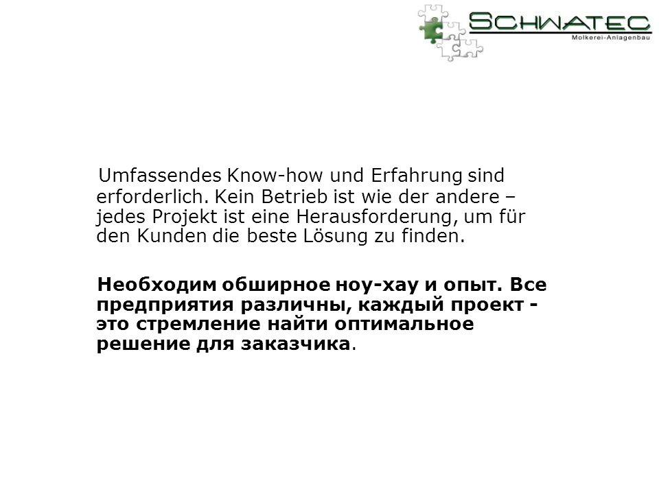 Umfassendes Know-how und Erfahrung sind erforderlich.