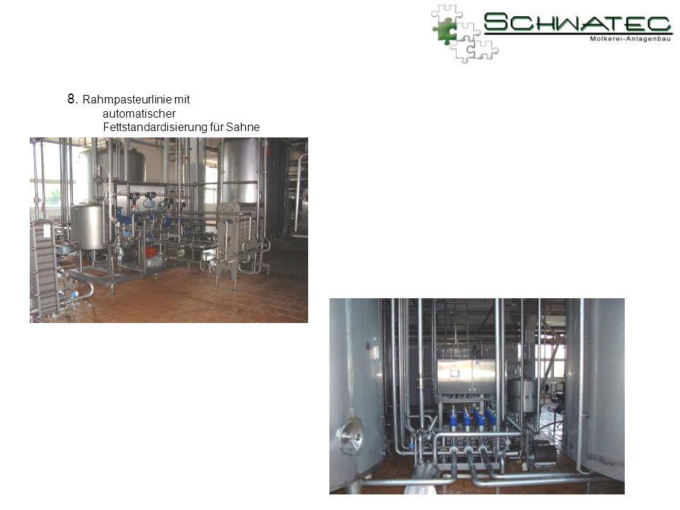 8. Rahmpasteurlinie mit automatischer Fettstandardisierung für Sahne