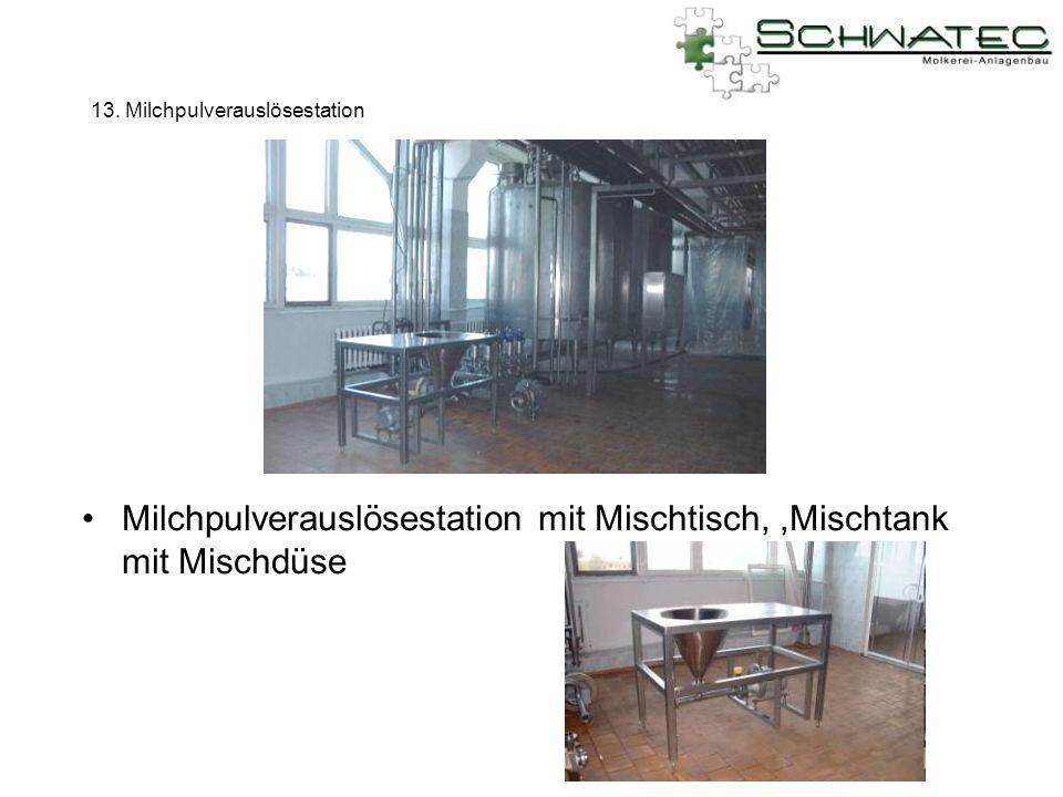 13. Milchpulverauslösestation Milchpulverauslösestation mit Mischtisch,,Mischtank mit Mischdüse