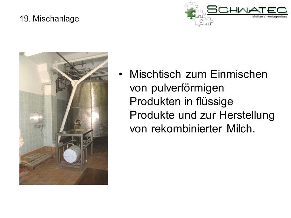 19. Mischanlage Mischtisch zum Einmischen von pulverförmigen Produkten in flüssige Produkte und zur Herstellung von rekombinierter Milch.