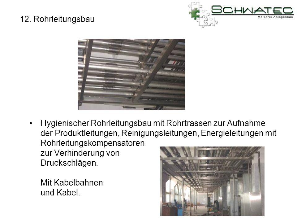 12. Rohrleitungsbau Hygienischer Rohrleitungsbau mit Rohrtrassen zur Aufnahme der Produktleitungen, Reinigungsleitungen, Energieleitungen mit Rohrleit