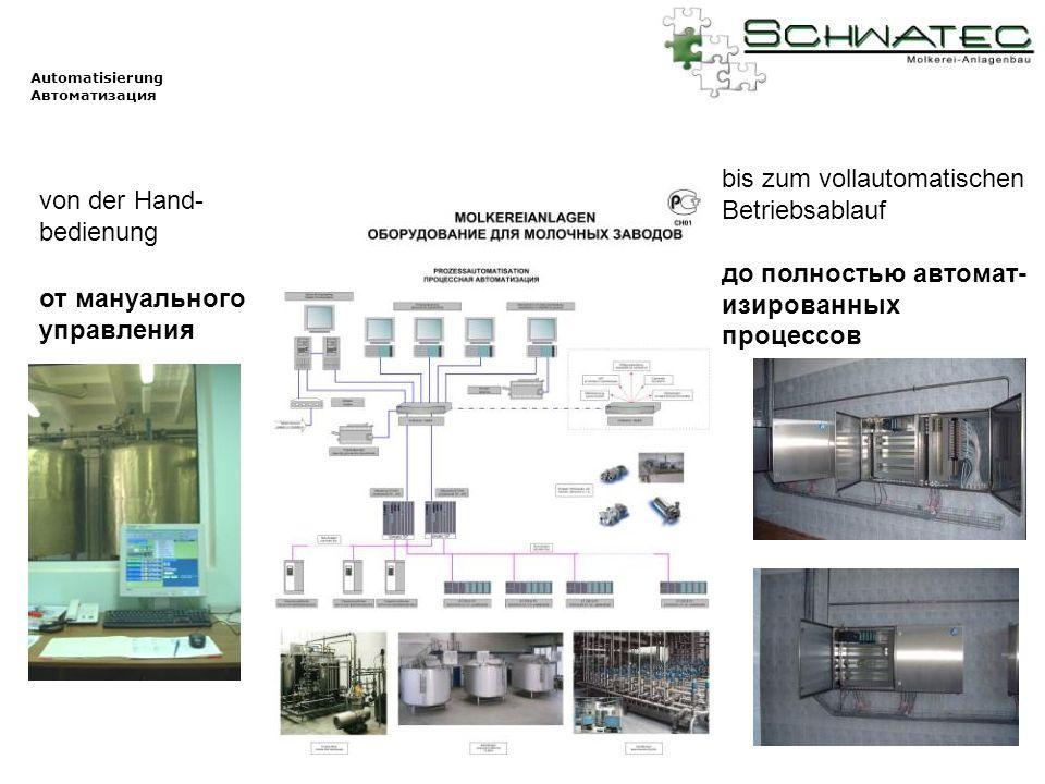 Automatisierung Автоматизация von der Hand- bedienung bis zum vollautomatischen Betriebsablauf до полностью автомат- изированных процессов от мануальн