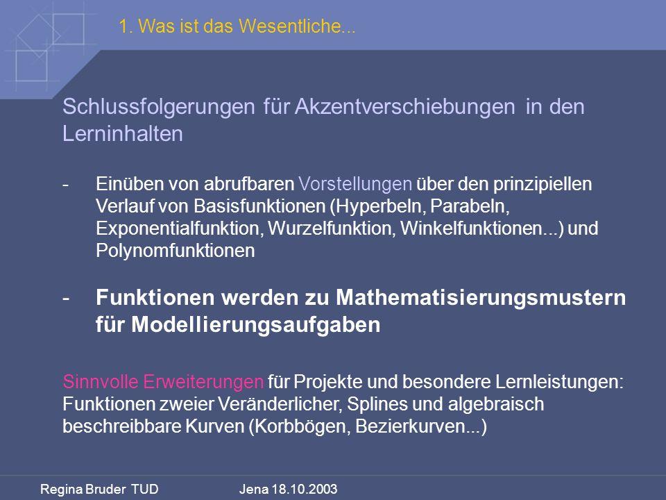 Regina Bruder TUD Jena 18.10.2003 Schlussfolgerungen für Akzentverschiebungen in den Lerninhalten -Einüben von abrufbaren Vorstellungen über den prinz