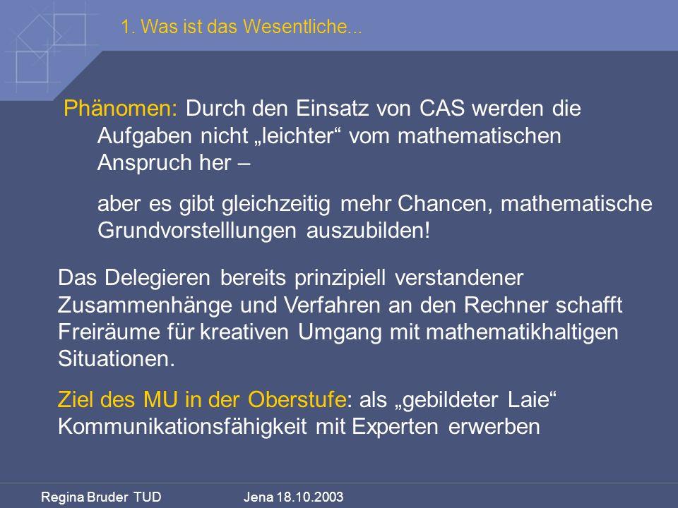 Regina Bruder TUD Jena 18.10.2003 Phänomen: Durch den Einsatz von CAS werden die Aufgaben nicht leichter vom mathematischen Anspruch her – aber es gib