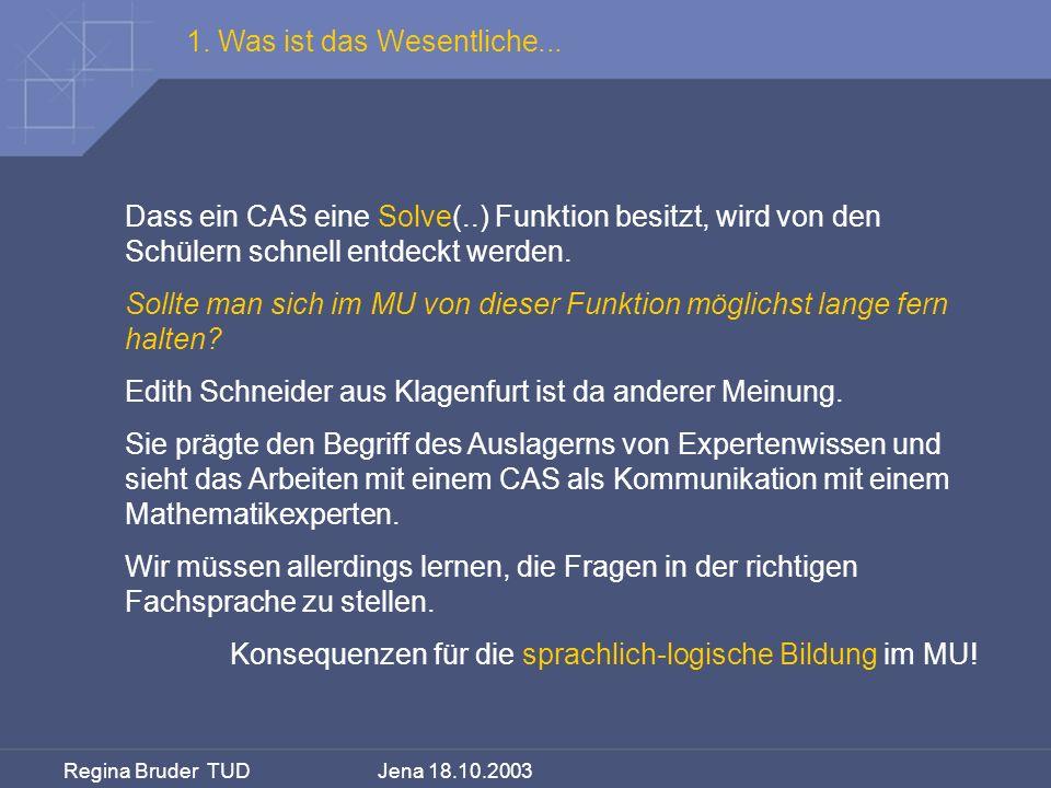 Regina Bruder TUD Jena 18.10.2003 Dass ein CAS eine Solve(..) Funktion besitzt, wird von den Schülern schnell entdeckt werden. Sollte man sich im MU v