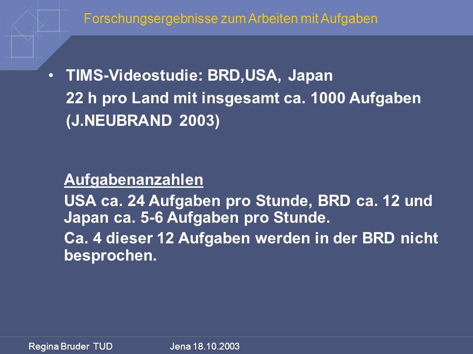 Regina Bruder TUD Jena 18.10.2003 Forschungsergebnisse zum Arbeiten mit Aufgaben TIMS-Videostudie: BRD,USA, Japan 22 h pro Land mit insgesamt ca. 1000
