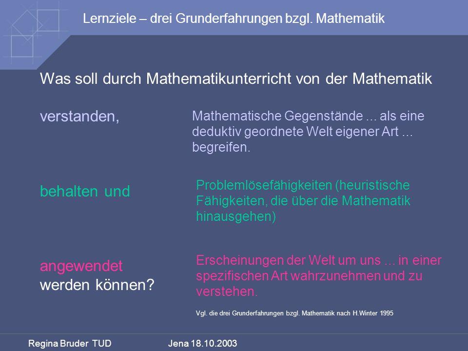 Regina Bruder TUD Jena 18.10.2003 Was soll durch Mathematikunterricht von der Mathematik verstanden, behalten und angewendet werden können? Erscheinun