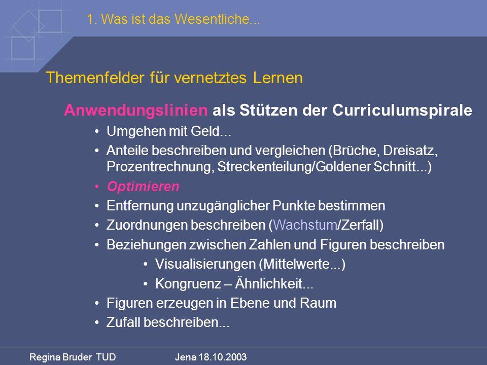 Regina Bruder TUD Jena 18.10.2003 Themenfelder für vernetztes Lernen 1. Was ist das Wesentliche... Anwendungslinien als Stützen der Curriculumspirale