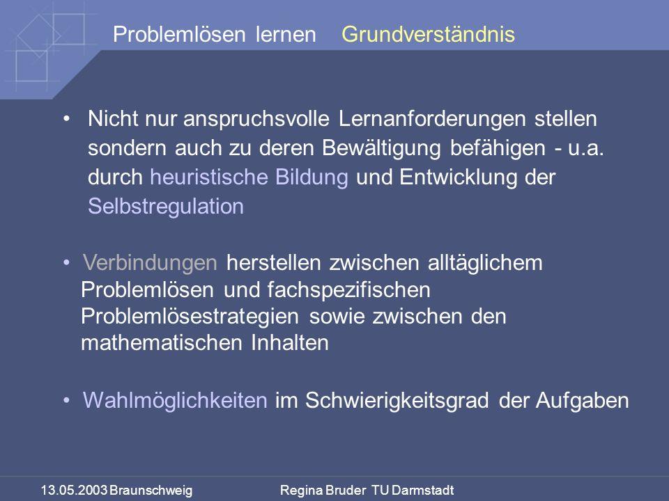 13.05.2003 Braunschweig Regina Bruder TU Darmstadt Problemlösen lernenGrundverständnis Nicht nur anspruchsvolle Lernanforderungen stellen sondern auch zu deren Bewältigung befähigen - u.a.