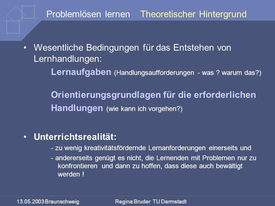 13.05.2003 Braunschweig Regina Bruder TU Darmstadt Problemlösen lernenTheoretischer Hintergrund Wesentliche Bedingungen für das Entstehen von Lernhandlungen: Lernaufgaben (Handlungsaufforderungen - was .