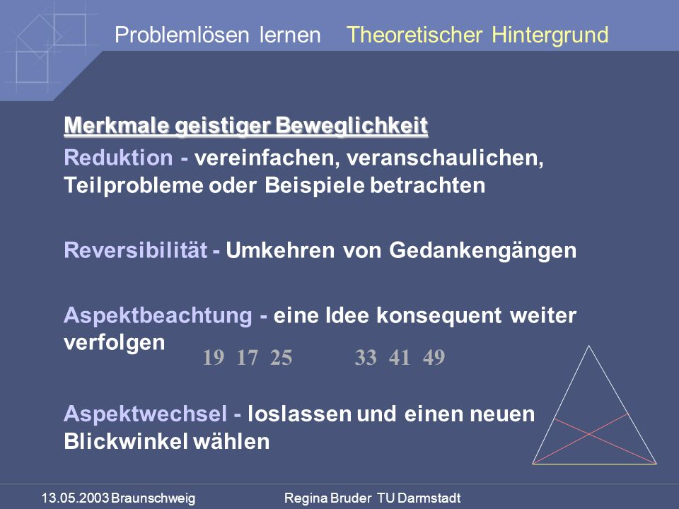 13.05.2003 Braunschweig Regina Bruder TU Darmstadt Problemlösen lernen Merkmale geistiger Beweglichkeit Reduktion - vereinfachen, veranschaulichen, Teilprobleme oder Beispiele betrachten Reversibilität - Umkehren von Gedankengängen Aspektbeachtung - eine Idee konsequent weiter verfolgen 19 17 25 33 41 49 Theoretischer Hintergrund Aspektwechsel - loslassen und einen neuen Blickwinkel wählen