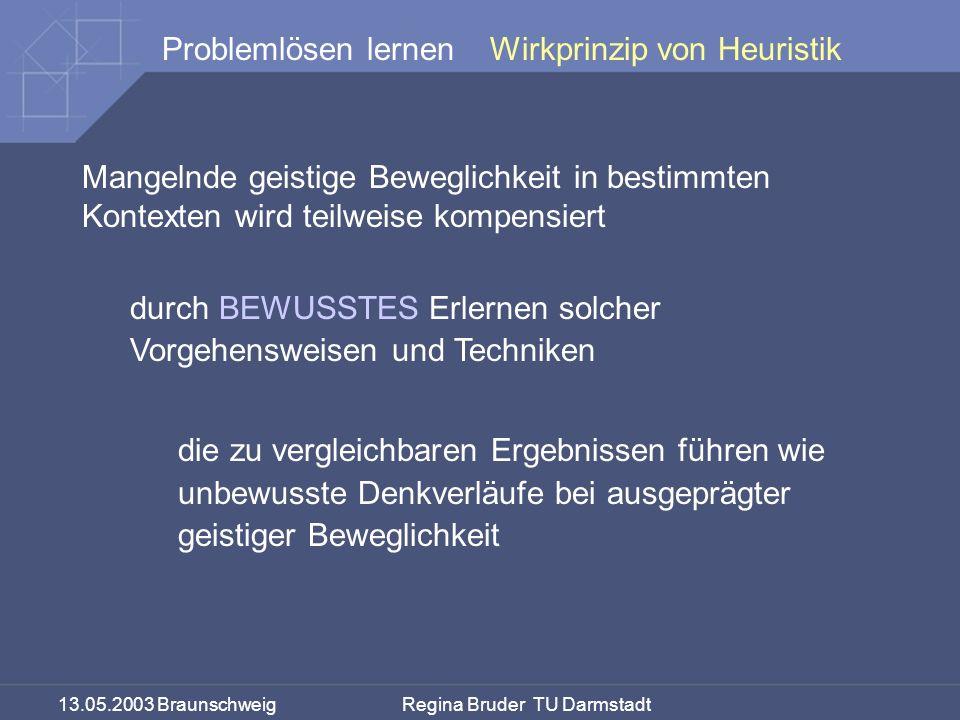 13.05.2003 Braunschweig Regina Bruder TU Darmstadt Problemlösen lernen Mangelnde geistige Beweglichkeit in bestimmten Kontexten wird teilweise kompens