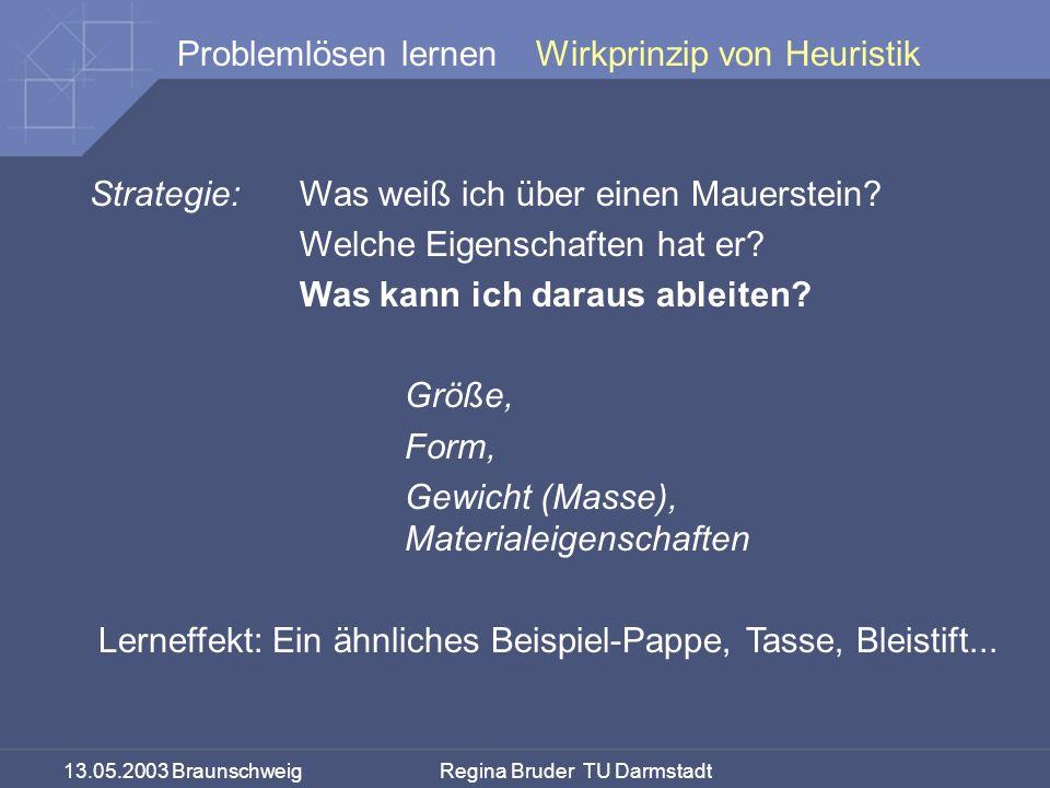 13.05.2003 Braunschweig Regina Bruder TU Darmstadt Problemlösen lernen Strategie:Was weiß ich über einen Mauerstein? Welche Eigenschaften hat er? Was