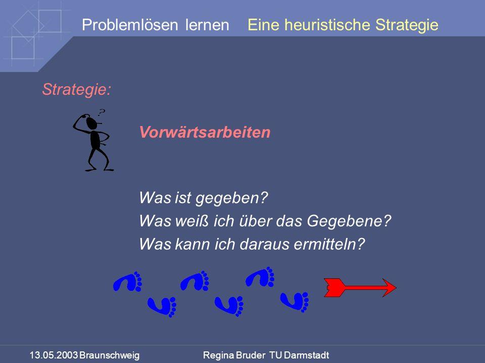 13.05.2003 Braunschweig Regina Bruder TU Darmstadt Problemlösen lernen Strategie: Vorwärtsarbeiten Was ist gegeben? Was weiß ich über das Gegebene? Wa
