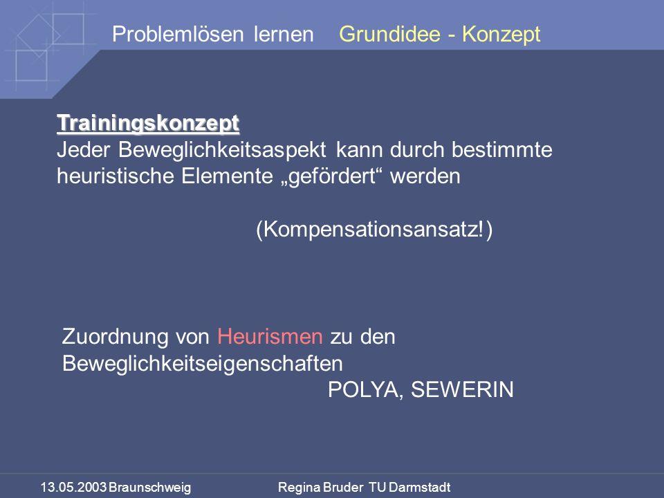 13.05.2003 Braunschweig Regina Bruder TU Darmstadt Problemlösen lernen Trainingskonzept Jeder Beweglichkeitsaspekt kann durch bestimmte heuristische E
