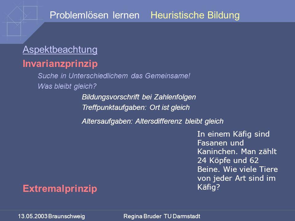 13.05.2003 Braunschweig Regina Bruder TU Darmstadt Problemlösen lernen Aspektbeachtung Invarianzprinzip Suche in Unterschiedlichem das Gemeinsame! Was