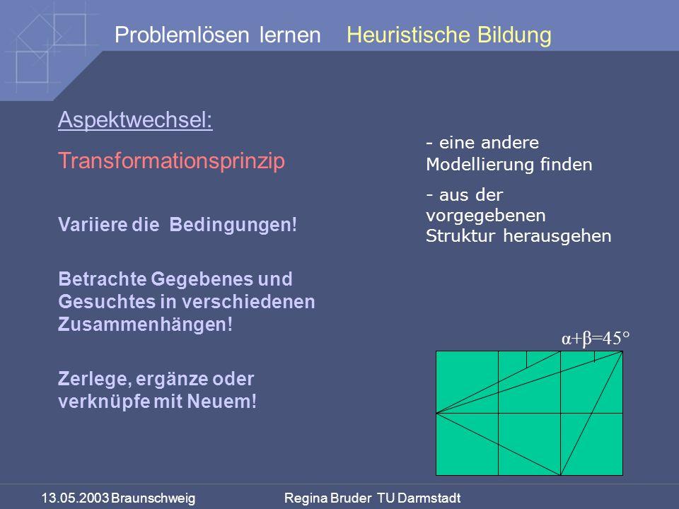 13.05.2003 Braunschweig Regina Bruder TU Darmstadt Problemlösen lernenHeuristische Bildung Aspektwechsel: Transformationsprinzip α+β=45° - eine andere Modellierung finden - aus der vorgegebenen Struktur herausgehen Variiere die Bedingungen.