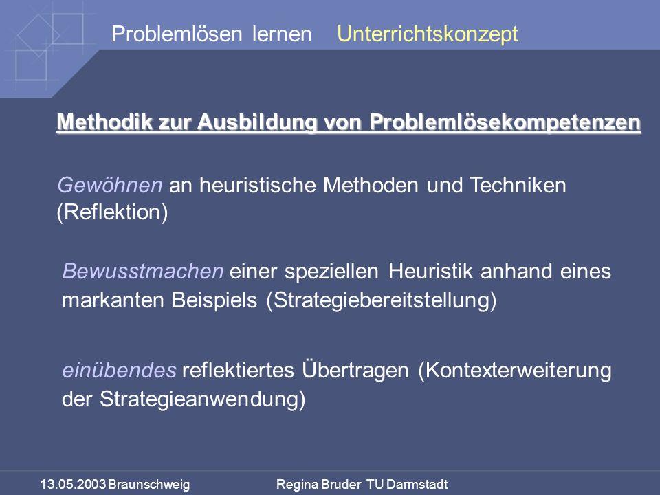 13.05.2003 Braunschweig Regina Bruder TU Darmstadt Problemlösen lernen Methodik zur Ausbildung von Problemlösekompetenzen Gewöhnen an heuristische Met