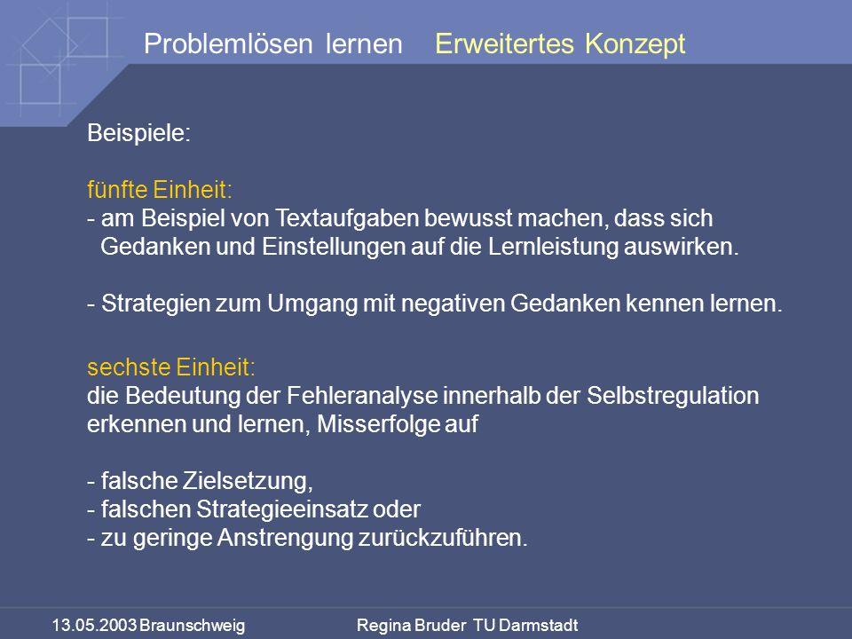 13.05.2003 Braunschweig Regina Bruder TU Darmstadt Problemlösen lernen Beispiele: fünfte Einheit: - am Beispiel von Textaufgaben bewusst machen, dass sich Gedanken und Einstellungen auf die Lernleistung auswirken.