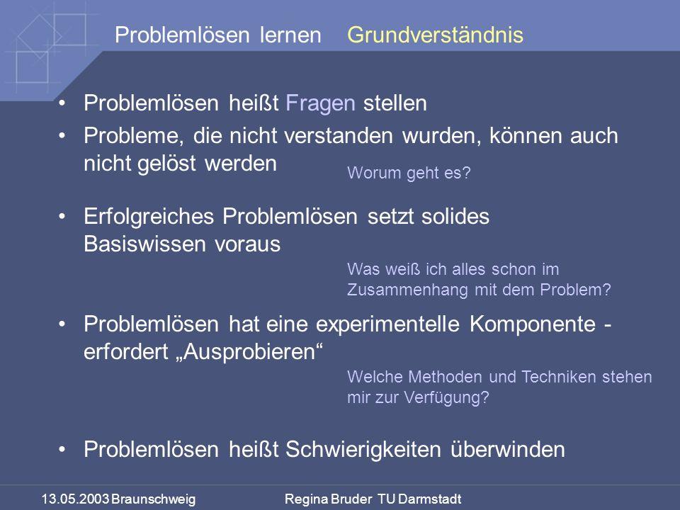 13.05.2003 Braunschweig Regina Bruder TU Darmstadt Problemlösen lernen Problemlösen heißt Fragen stellen Probleme, die nicht verstanden wurden, können