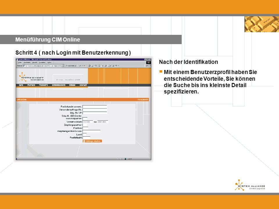 Menüführung CIM Online Nach der Identifikation Schritt 4 ( nach Login mit Benutzerkennung ) Mit einem Benutzerzprofil haben Sie entscheidende Vorteile