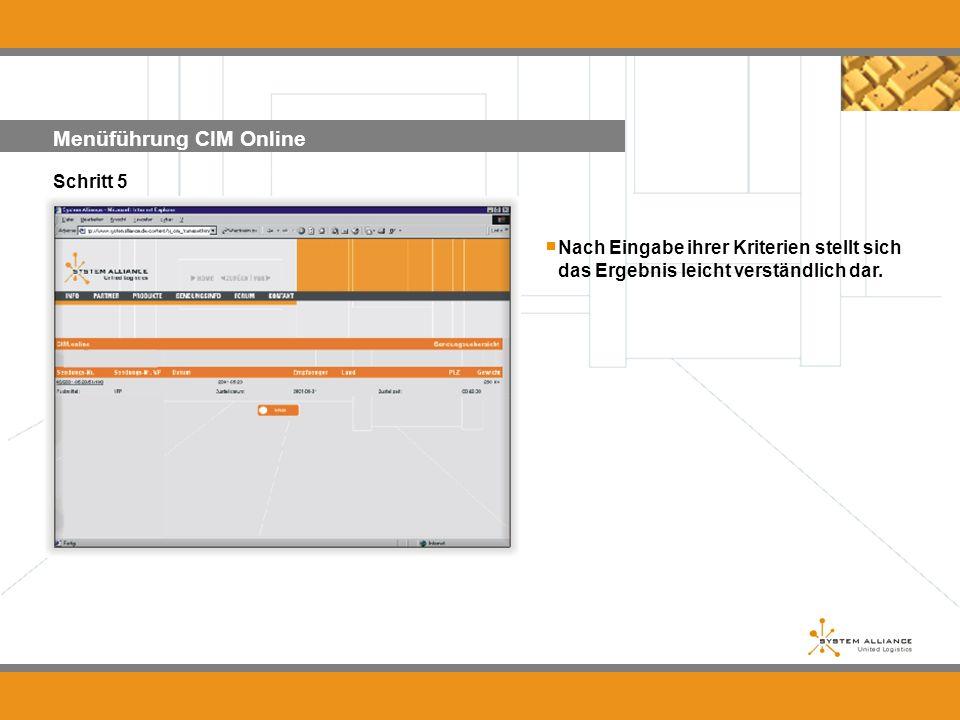 Menüführung CIM Online Schritt 5 Nach Eingabe ihrer Kriterien stellt sich das Ergebnis leicht verständlich dar....