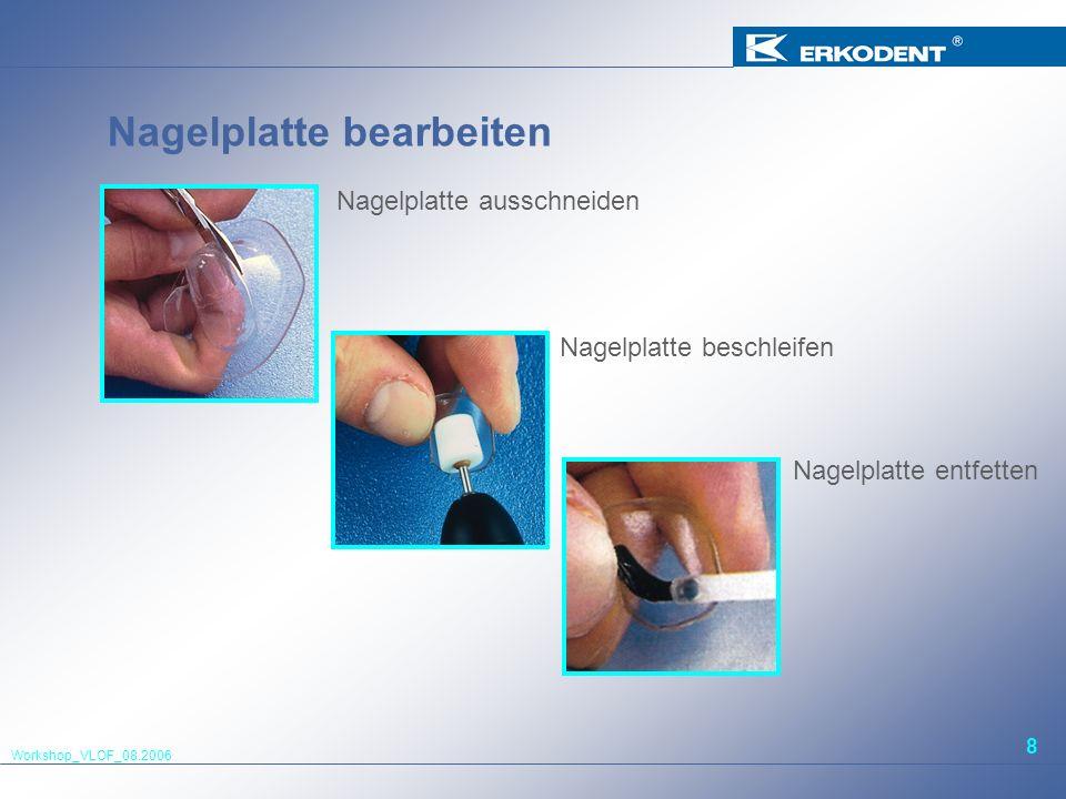 Workshop_VLOF_08.2006 8 Nagelplatte bearbeiten Nagelplatte ausschneiden Nagelplatte entfetten Nagelplatte beschleifen